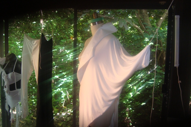the image is in a garden setting a white garment in dim light