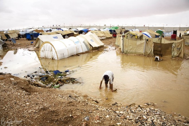 Heavy rains at Al Tanf Refugee camp on the Syrian/Iraqi border flooded tents and over flowed latrines leaving many of the Palestinians refugees without homes, October 2008